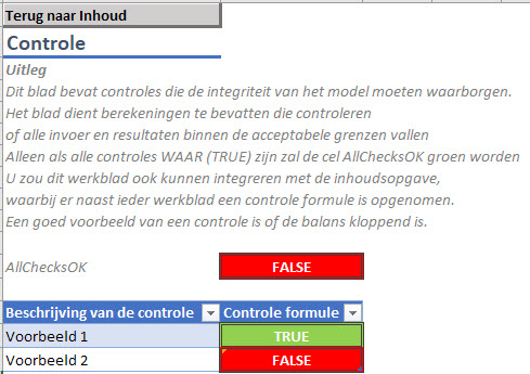 Controle werkblad in ons Excel model